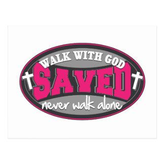 Caminhada com deus (rosa) cartão postal