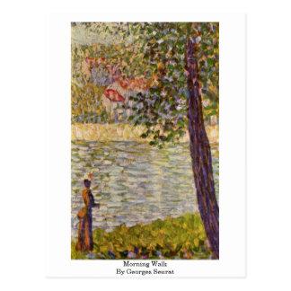 Caminhada da manhã por Georges Seurat Cartão Postal