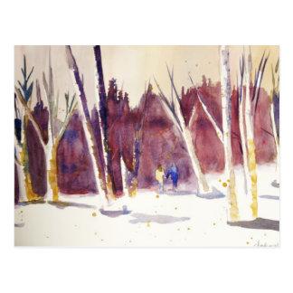 Caminhada do inverno cartão postal