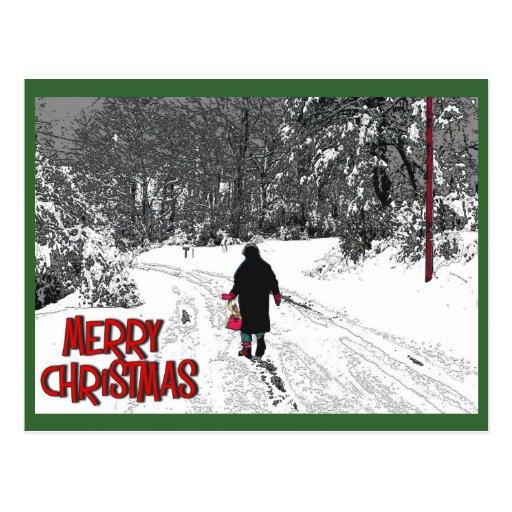 Caminhada no cartão de Natal da neve Cartão Postal