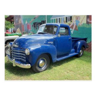 Caminhão azul antigo cartão postal