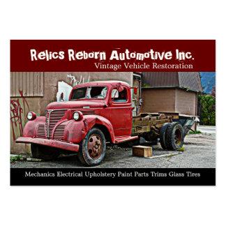 Caminhão na oficina de reparações traseira dos mec modelos cartão de visita