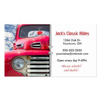 Caminhão velho clássico vermelho cartão de visita