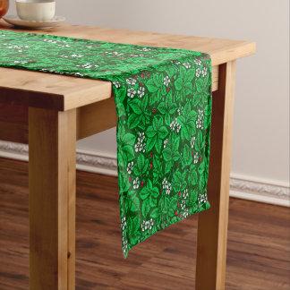 Caminho De Mesa Pequeno Morangos de Nouveau da arte e folhas, verde