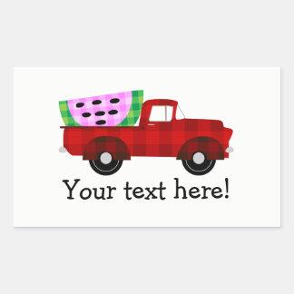 Camionete antigo vermelho e melancia gigante adesivo retangular