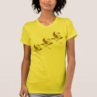 Camisa amarela de três pássaros T Camisetas