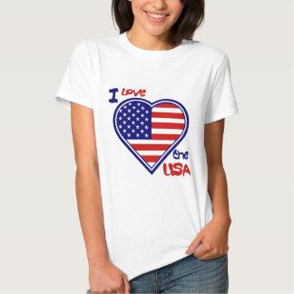 """Camisa americana do coração """"eu amo os EUA """" T-shirts"""