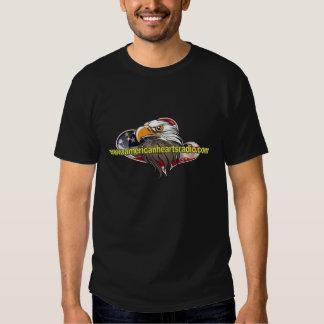 Camisa americana do preto do rádio dos corações camiseta