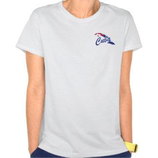 Camisa (azul) de Cuba da equipe - etiqueta de T-shirt