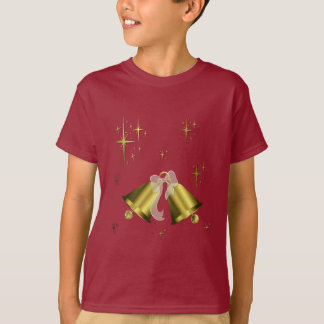 Camisa Bell dourada do Natal T & estrelas