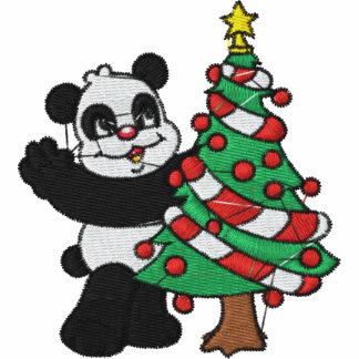 Camisa bordada do urso de panda do Natal