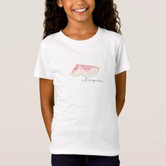 Camisa branca com design da melancia da aguarela