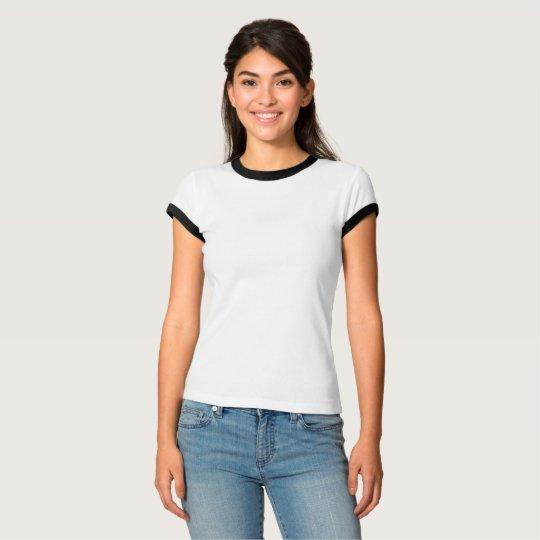 Camiseta feminina Ringer da Bella+Canvas, Branco/Preto