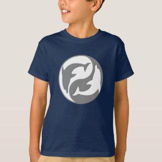 Camisa cinzenta e branca dos golfinhos de Yang do