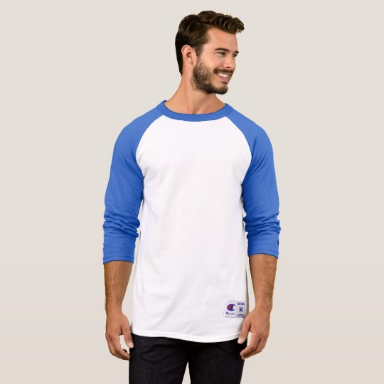 Camiseta Champion Mangas Raglan 3/4, Branco/Team Blue