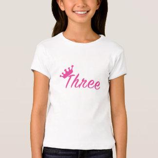 Camisa da tiara T da menina do aniversário de 3