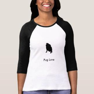 Camisa do amor do Pug Camisetas