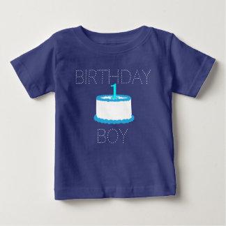 Camisa do aniversário do bebé azul primeira