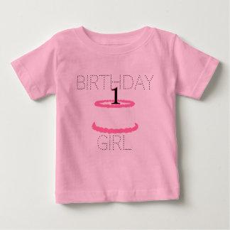 Camisa do aniversário do bebé cor-de-rosa primeira