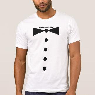 Camisa do homem do noivo - laço médio camiseta