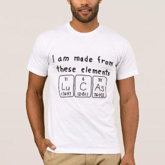 Camisa do nome da mesa periódica de Lucas
