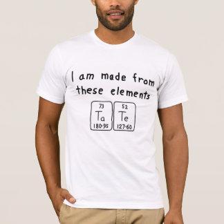 Camisa do nome da mesa periódica de Tate