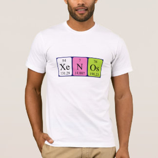 Camisa do nome da mesa periódica de Xenos