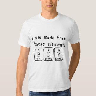 Camisa do nome da mesa periódica do menino camiseta