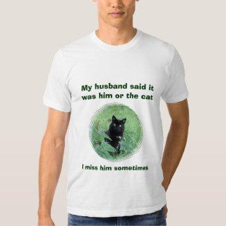 Camisa engraçada do T das mulheres do gato preto Tshirt