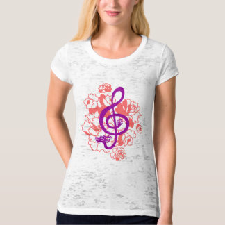 Camisa musical do costume das peônias do clef de