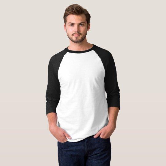 Camiseta Básica, Mangas Raglan 3/4, Branco/Preto