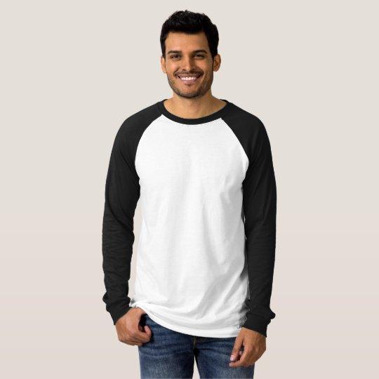Camiseta, Mangas Raglan Longas, Canvas, Branco/Preto