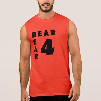 Camisa Sem Mangas Urso alegre do texto preto do urso do urso 4