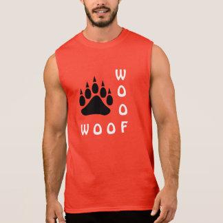 Camisa Sem Mangas Urso alegre do Woof do dobro da pata de urso preto