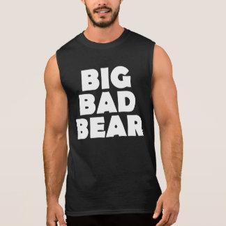 Camisas Sem Manga Parte traseira má grande da pata de urso branco do