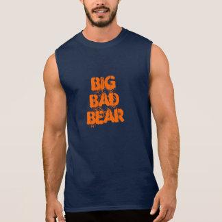 Camisas Sem Manga Pia batismal alaranjada do Grunge do urso mau