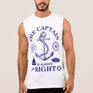 Camisas Sem Mangas O capitão é sempre - capitão Engraçado - marinho