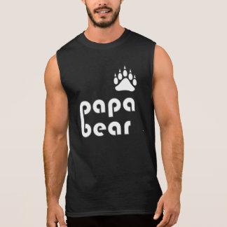 Camisas Sem Mangas Pata de urso do urso da papá (branca)