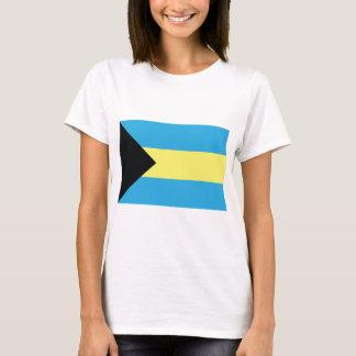 Camiseta A bandeira de Bahamas na água-marinha preta e no