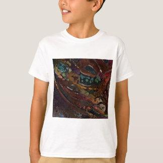 Camiseta Abstrato de Brown e de azul
