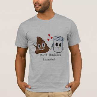 Camiseta amigos do bumbum do papel higiénico do emoji do