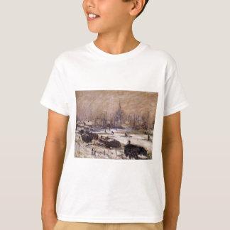 Camiseta Amsterdão na neve por Claude Monet