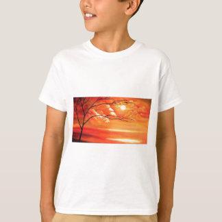 Camiseta Árvore abstrata & por do sol vermelho