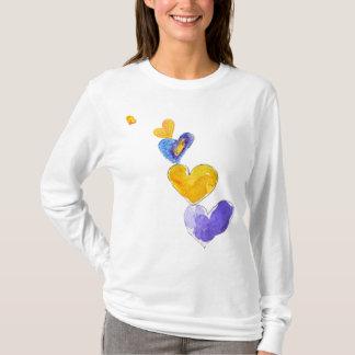 Camiseta Azul roxo de Yel da torre de 5 corações do amor