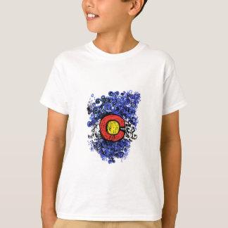 Camiseta Bandeira abstrata de Swirly Colorado