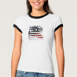 Camiseta Bandeira patriótica dos EUA da inicial do