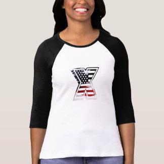 Camiseta Bandeira patriótica inicial dos EUA do monograma