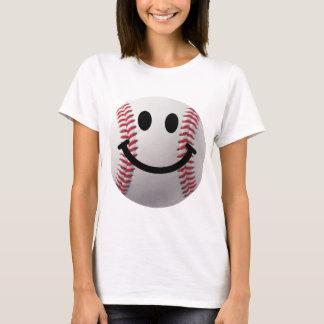 Camiseta basebol do smiley