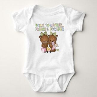 Camiseta Bodysuit do urso dos amigos dos gêmeos do bebé
