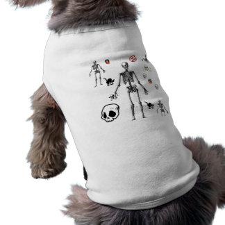 Camiseta Camisa do esqueleto do cão do Dia das Bruxas
